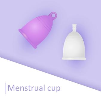 Silikon menstruationstasse. umweltfreundliches, waschbares intimprodukt. null abfall für die persönliche hygiene. kunststofffreies konzept. realistische darstellung der frauenhygiene.