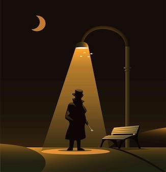 Sillhouette von jack the ripper unter straßenlaterne im park in der nacht. urban legend horror szene konzept illustration