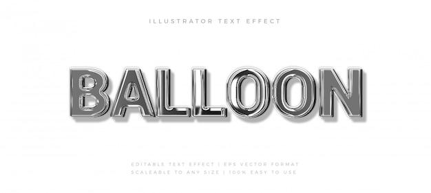 Silver balloon shiny text style schriftart-effekt