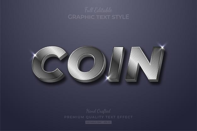 Silver coin strip glow bearbeitbarer texteffekt-schriftstil