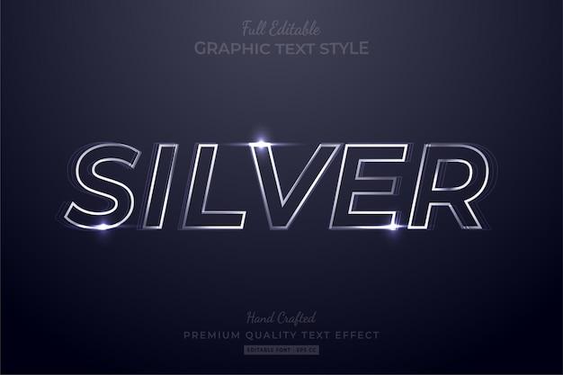 Silver glow bearbeitbarer texteffekt-schriftstil