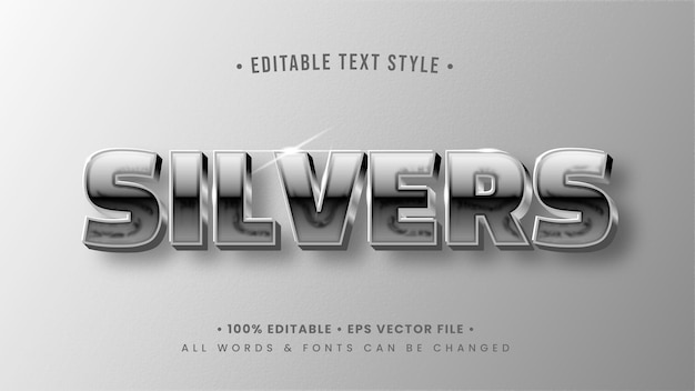 Silver glow glänzender 3d-text-stil-effekt. bearbeitbarer illustrator-textstil.