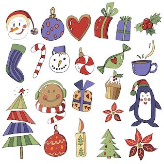 Silvester clipart weihnachten set mit zeichentrickfiguren des neuen jahres sammlung von weihnachtselementen für