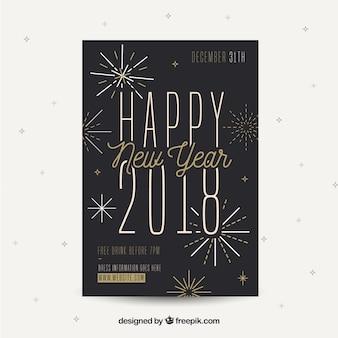 Silvester party flyer in schwarz mit goldenen elementen