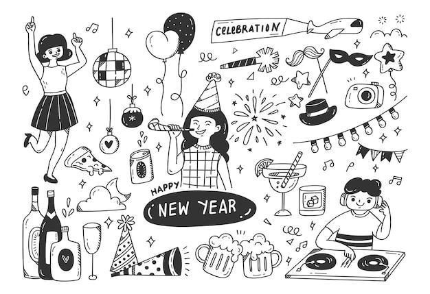 Silvester party kritzeleien illustration