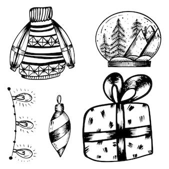 Silvester-set von doodles im handdraw-stil weihnachtsschneeball-pullover-girlandenlichter