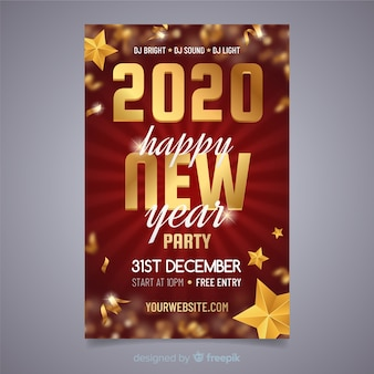Silvesterparty flyer im flachen design