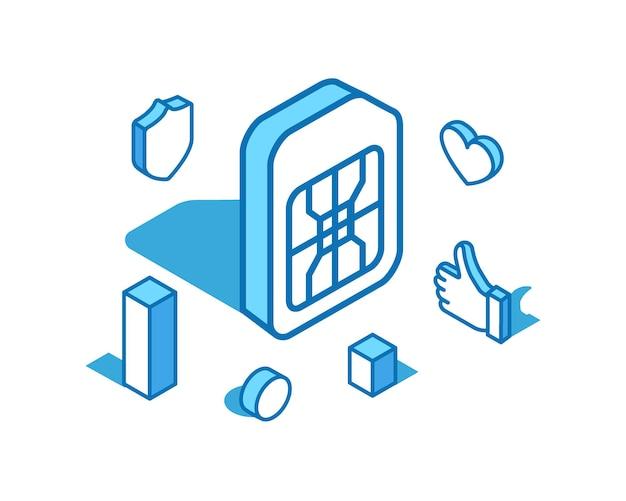 Sim-karte blaue linie isometrische illustration mobile slot technische telefonkarte 3d banner vorlage