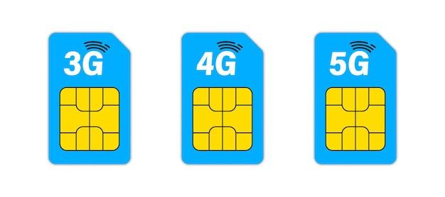 Sim karte. set mit 3g-, 4g- und 5g-sim-karten. mobile und drahtlose kommunikationstechnologien. elektronische verbindung des netzwerkchips
