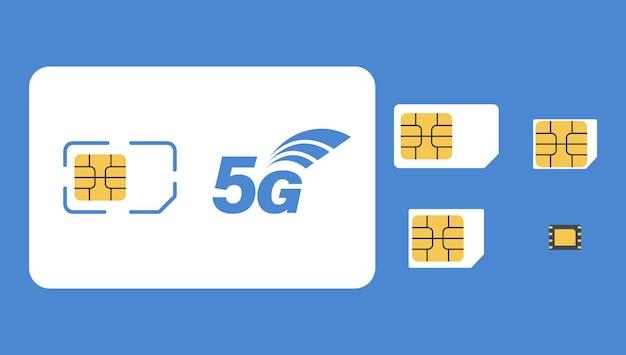 Sim karte. set von 5g-sim-karten. mobilfunktechnik