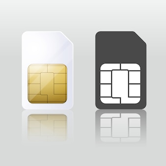 Sim-karte weiß und schwarz. mobile telekommunikation. chipkommunikation, verbindungsausrüstung, vektorabbildung