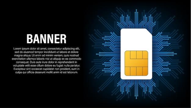 Sim-kartenbanner im abstrakten stil. moderne kommunikationstechnologie. konzeptbanner. digitaler chip. drahtlose kommunikation mit mobiltelefonen