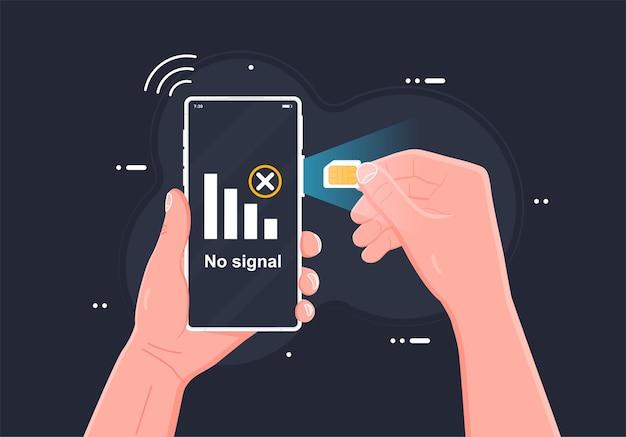 Sim-kartenkonzept mobilfunknetz mit mikrochip-technologie