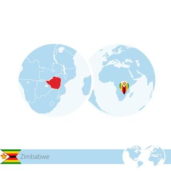 Simbabwe auf der weltkugel mit flagge und regionaler karte von simbabwe. vektor-illustration.