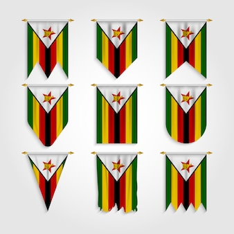 Simbabwe flagge in verschiedenen formen, flagge von simbabwe in verschiedenen formen