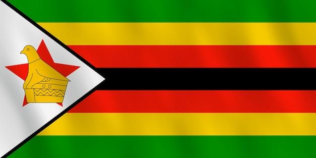 Simbabwe-flagge mit wehender wirkung, amtlicher anteil.
