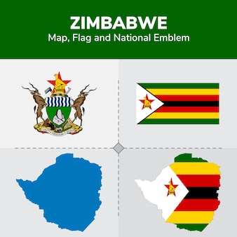 Simbabwe karte, flagge und nationales emblem