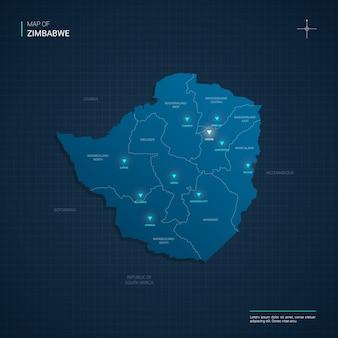 Simbabwe-karte mit blauen neonlichtpunkten - dreieck auf dunkelblauem farbverlauf