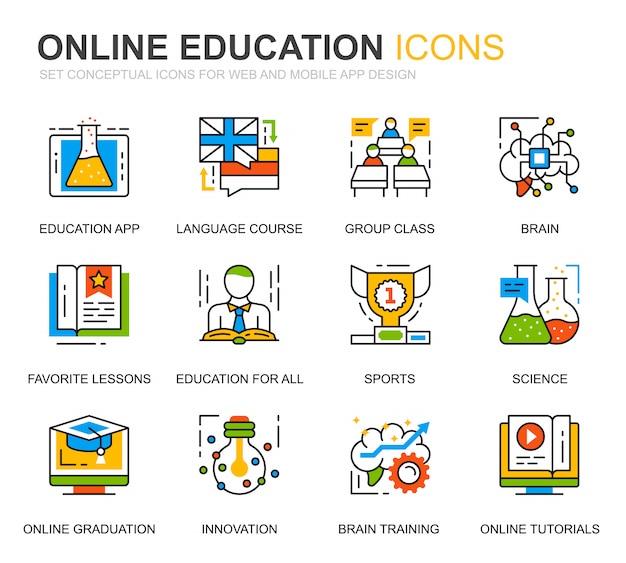 Simple set education und knowledge line icons für die website