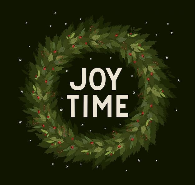 Simsen sie mit blättern, jahreszeitdekorationskarten-einladungsfeier der frohen weihnachten und feiertagsillustration