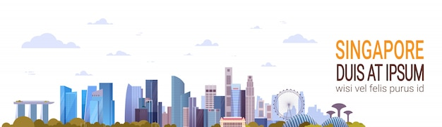 Singapur-ansicht-berühmte marksteine und moderne wolkenkratzer über schablonen-horizontaler fahne