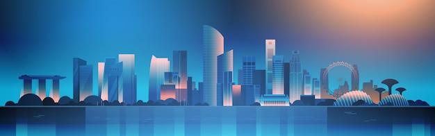 Singapur bei nacht illustration schöne stadtbild mit berühmten sehenswürdigkeiten und wolkenkratzern