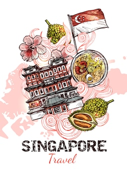 Singapur hand gezeichnetes skizzenplakat