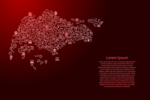 Singapur-karte aus roten und leuchtenden sternensymbolen mustersatz von seo-analysekonzept oder -entwicklung, geschäft. vektor-illustration.