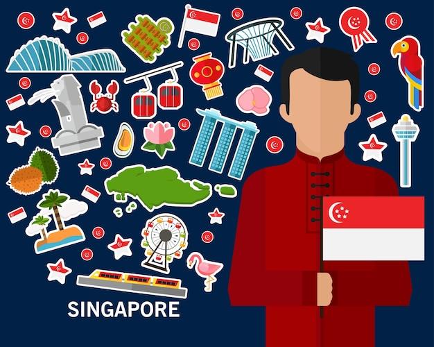 Singapur-konzepthintergrund flache ikonen