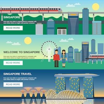 Singapur kultur 3 flache banner-set