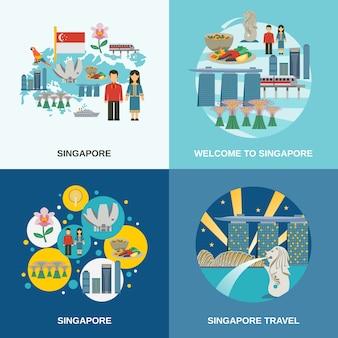 Singapur-kultur 4 flache ikonen-zusammensetzung