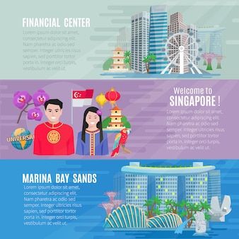 Singapur kultur für reisende 3 flache horizontale banner mit finanzgeschäftszentrum gesetzt
