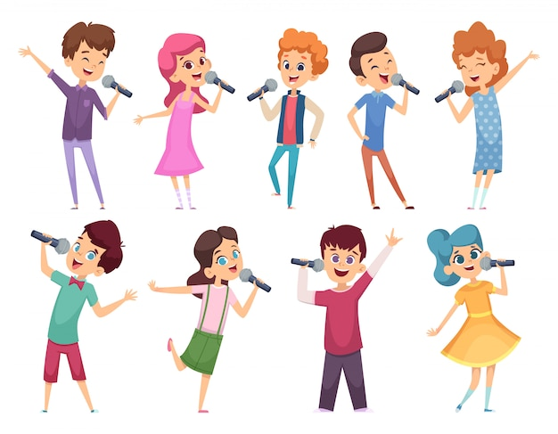 Singende kinder. männliche und weibliche kinder stehen mit mikrofonen musikleistung karaoke talent cartoons