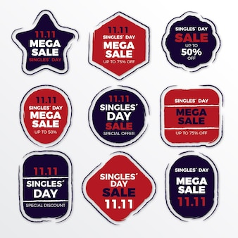 Singles day labels sammlung
