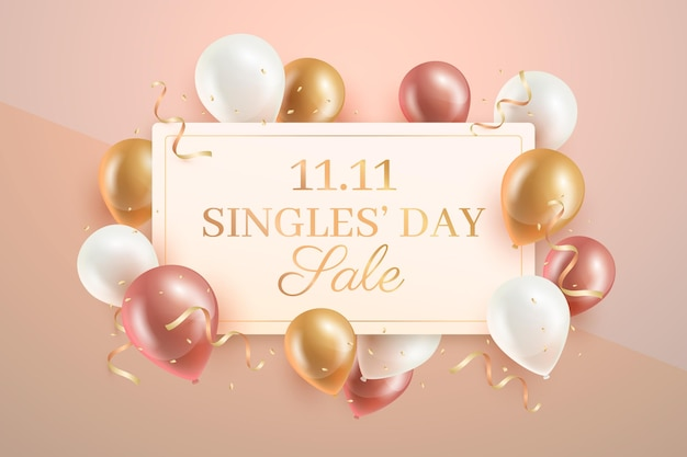 Singles 'tag mit realistischen luftballons