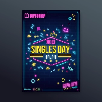 Singles 'tag neon poster vorlage