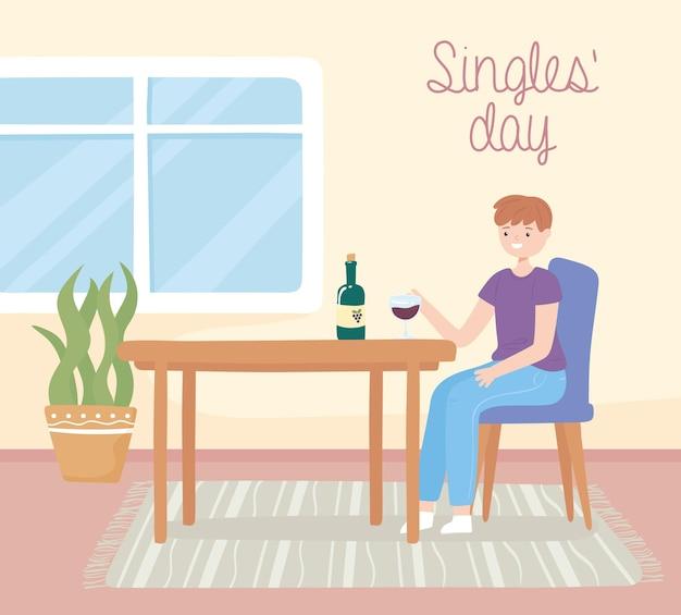 Singles-tag-typ, der wein trinkt