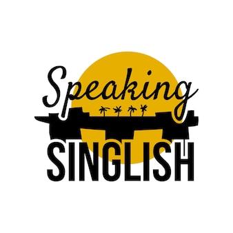 Singlish-text sprechen. stilvolles symbol für den singapur-urlaub. vektor