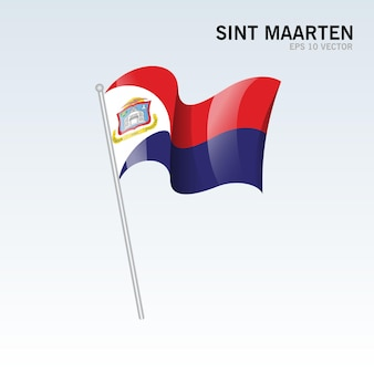 Sint maarten wehende flagge isoliert auf grau