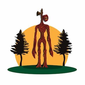 Sirenenkopf urban legend mythologie kreatur konzept im cartoon illustration vektor