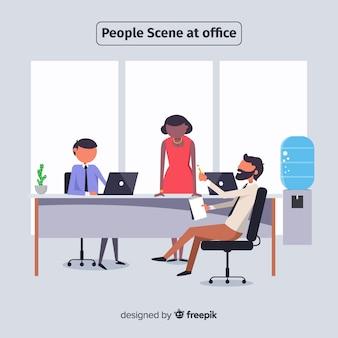 Situationsleute am flachen hintergrund des büros