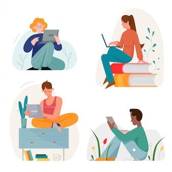 Sitzen in verschiedenen posen leute mit flachem illustrationssatz des laptopcharakters