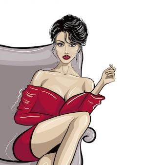 Sitzende dame im roten kleid mit der hand, die etwas hält
