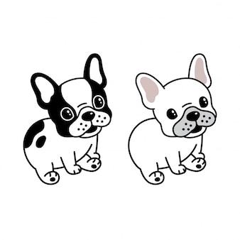 Sitzende karikatur der französischen bulldogge