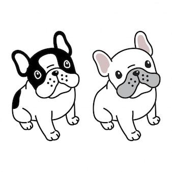 Sitzende karikatur der hundefranzösischen bulldogge