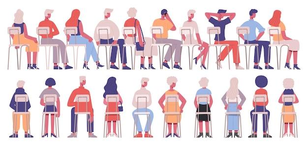 Sitzende menschen rückansicht