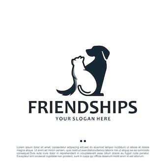 Sitzender hund und katze, logo-design-inspiration