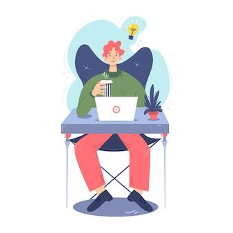 Sitzender mann arbeitet in einem bequemen arbeitsbereich.