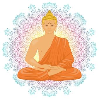 Sitzender meditierender buddha im lotussitz auf mandala-hintergrund zeichen für tattoo-textildruck