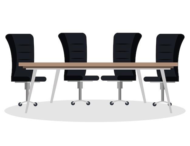 Sitzungstisch und stühle szene vektor-illustration design